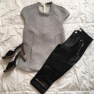 Zara top with silver metal zippers